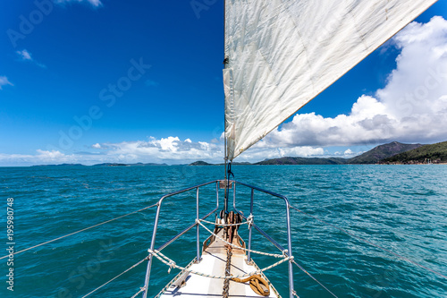 Canvas Print Sail boat on open water around the whitsunday islands in Australia