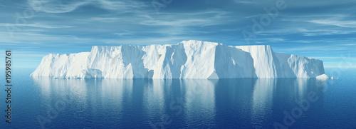 Stampa su Tela View of iceberg with beautiful transparent sea