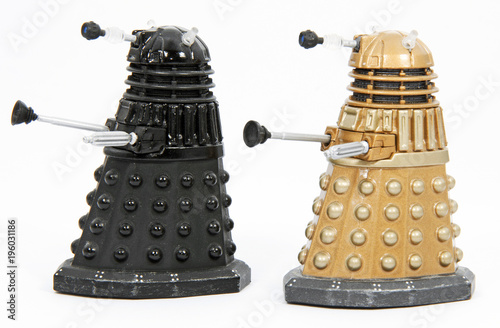 Canvas Toy Robots (Daleks) similar to those in the series Dr Who.