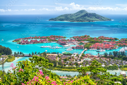 Stampa su Tela Aerial view of Mahe' Island, Seychelles. Vegetation and homes