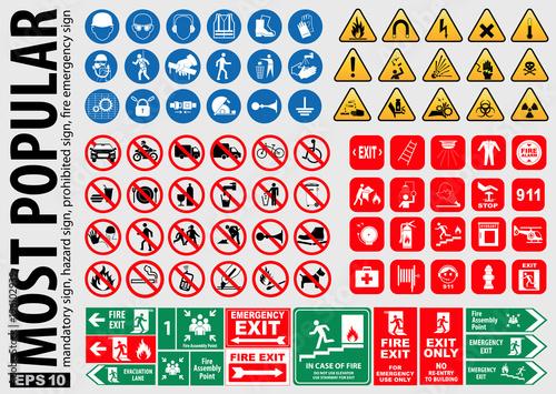 Fotografija Most Popular signs (mandatory sign, hazard sign, prohibited sign, fire emergency sign)