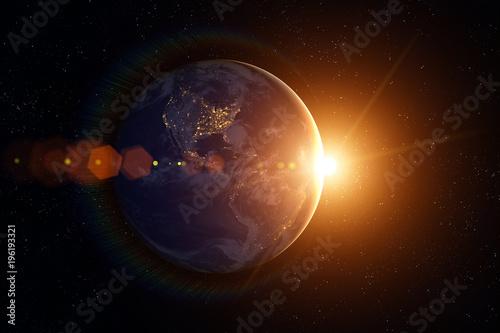 Earth, Sun, space. Sunrise.
