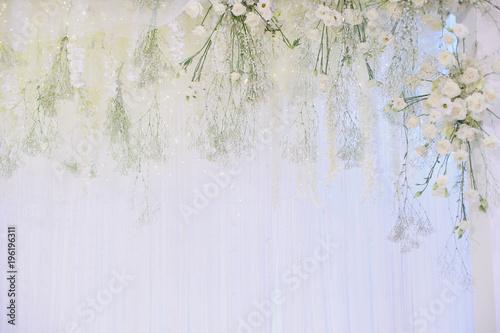 wedding flower decoration, flower backdrop background, rose wall, white rose Fototapeta