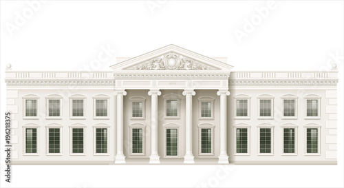 Fotografia The facade of a classical public building is a Palace, a courthouse or a theater, a Parliament or a Museum