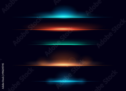 Fotografie, Tablou Vector illustration set of colorful realistic flare elements collection