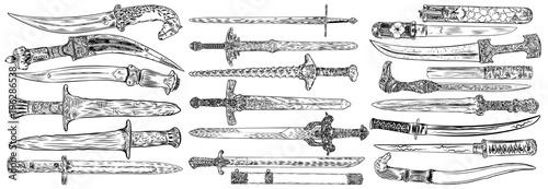 Black work tattoo art hand drawn engraving style medieval knife, dagger, sword for flesh body art Fototapet