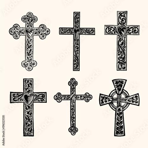 Cuadros en Lienzo Christian Cross Vintage Line Art - Early 1800s Engraving