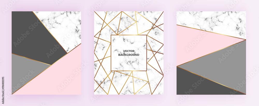 Ustaw geometryczne wzory plakatów ze złotą linią, szarością, pastelowymi różowymi kolorami i marmurową teksturą tła. Szablon zaproszenia, karty, projekt, baner, ślub, chrzciny <span>plik: #196400395 | autor: Millaly</span>