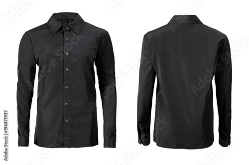 Photo Black color formal shirt with button down collar isolated on white