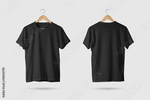 Fotografia Black T-Shirt Mock-up on wooden hanger, front and rear side view
