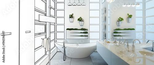 Cuadros en Lienzo Contemporary Bathroom Project (panoramic)