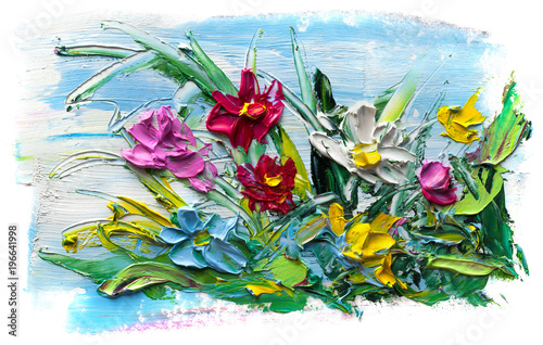 Abstract oil painting of  flower.