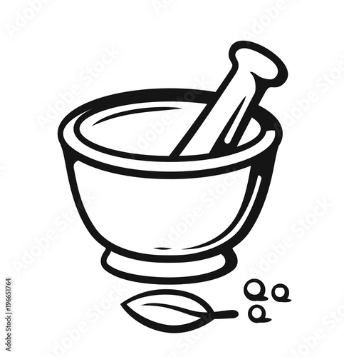 Mortar and Pestle with spices outline style. Fototapeta