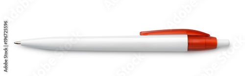 Foto Top view of blank white pen