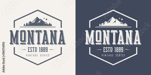 Wallpaper Mural Montana state textured vintage vector t-shirt and apparel design