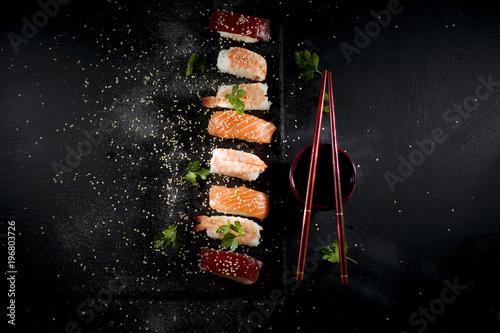 Typical Japanese sushi dish