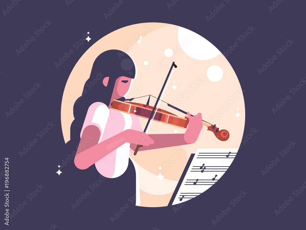 Girl playing violin <span>plik: #196882754   autor: Kit8 d.o.o.</span>
