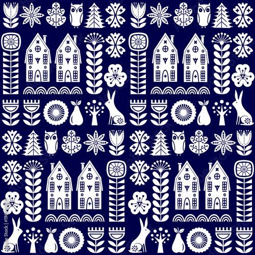 Fototapeta Scandinavian folk art seamless vector pattern with flowers, trees, rabbit, owl,