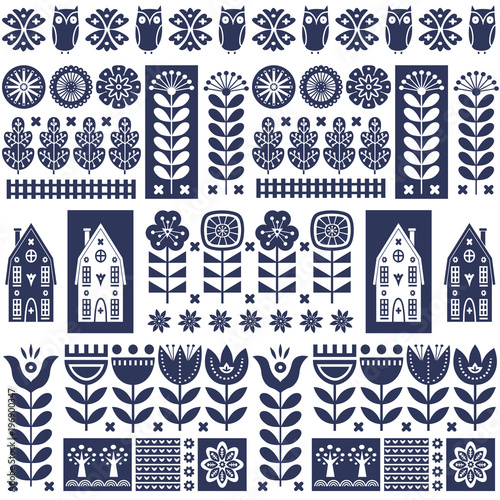 Fototapeta Scandinavian folk art seamless vector pattern with flowers, trees, owl, houses w