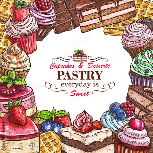Stampa su Tela Vector desserts pastry shop sketch poster