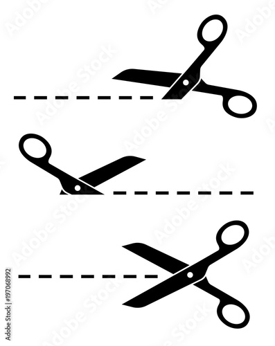 Canvas Print Set Scissors with cut lines. Flat style - stock vector.