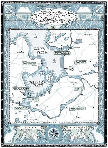 Canvas Print Map of Het IJsselmeer in the Netherlands