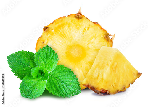 pineapple and mint isolated on a white background
