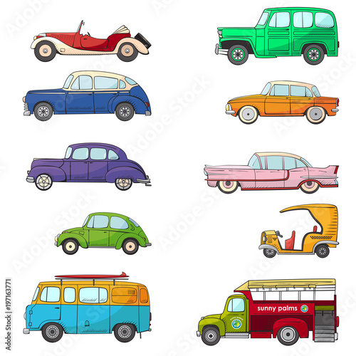 Canvas Print Collection with retro car in cartoon style