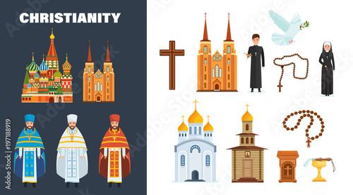 Obraz na plátně Catholic and orthodox christianity