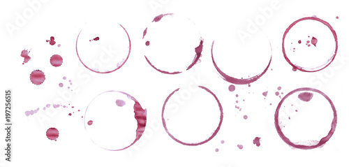 Red wine stain rings isolated on white background