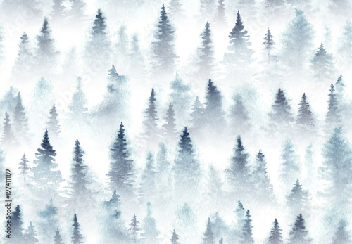 Seamless pattern of watercolor spruce forest in the fog.