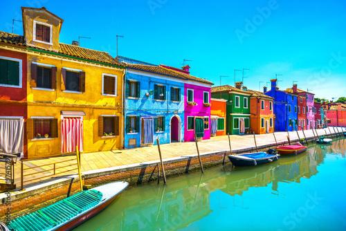 Venice landmark, Burano island canal, colorful houses and boats, Italy Fototapeta