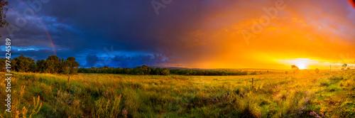 Tablou Canvas Atardecer en el campo, panoramica
