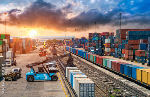 Wallpaper Mural Business Logistics and transportation concept, of Container Cargo train and truc