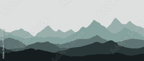 Canvas Print panoramic view of the mountain landscape with fog in the valley below with the a