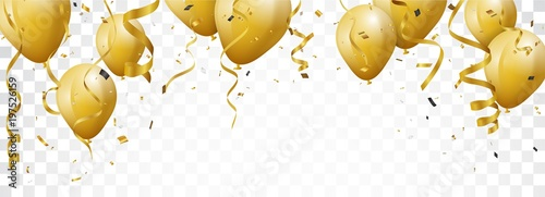 Leinwand Poster Celebration banner with gold confetti and balloons