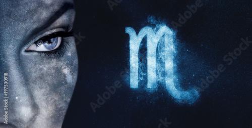 Scorpio Zodiac Sign. Astrology women night sky background