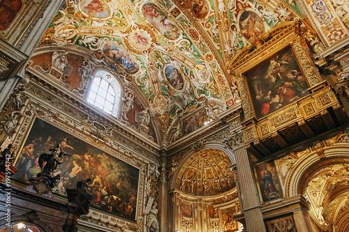 Canvas Print Bergamo, Italy - August 18, 2017: Bergamo's Basilica di Santa Maria Maggiore, ornate gold interior