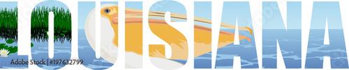 Fotografie, Obraz vector Louisiana - American state word with pelican and sea coast