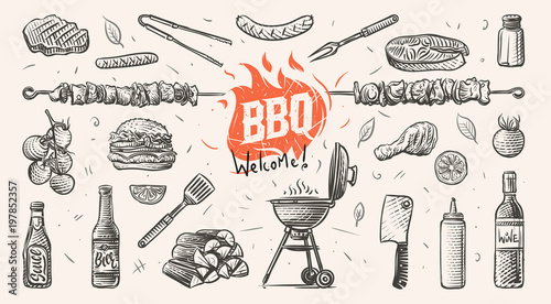 Canvas Barbeque related things hand drawn illustration. Vector.