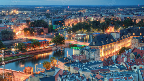 Evening panorama of the city Wroclaw, Poland