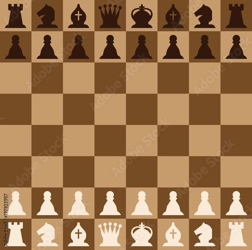 Obraz na płótnie Chess pieces set of icons on a brown chess board