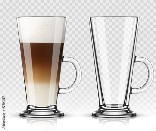 Photographie Vector illustration of coffee latte in glass on transparent background
