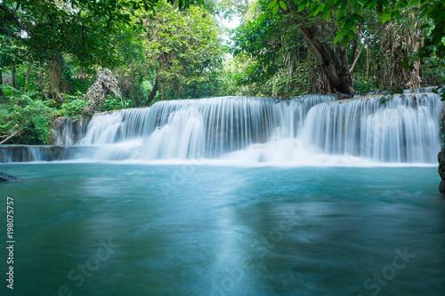 Huay Mae Khamin waterfalls in deep forest at Srinakarin National Park ,Kanchanaburi ,A beautiful stream water famous rainforest waterfall in Thailand