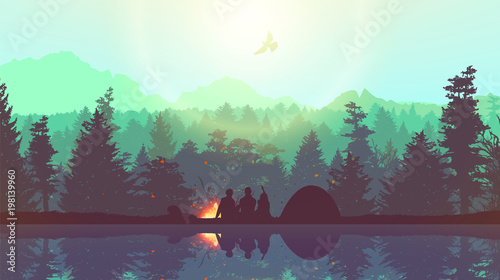 Fotografia People camping, adventure and travel concept, beautiful forest, mountain and sky, double exposure, vector illustration