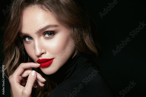 Wallpaper Mural Beautiful Woman Face With Makeup And Red Lips.