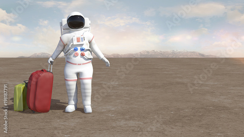 Photo Astronaut holding the orbiting earth with his hands on the moon or alien planet surface