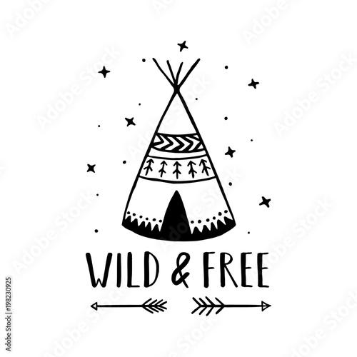 Fotografia Wild and free scandinavian style hand drawn poster