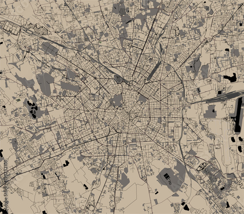 Photo vector map of the city of Milan, capital of Lombardy, Italy
