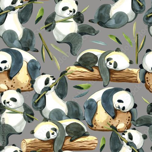 Fototapeta Akwarela bezszwowe wzór różnych panda i liści